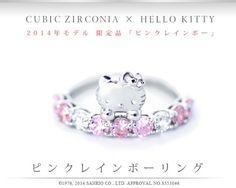 New Sanrio Hello Kitty x Cubic Zircon Pink Rainbow Silver Ring from Japan | eBay