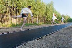trampoline sidewalk.  russia.