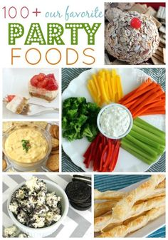 See more than 100 of our Favorite Party Finger Foods! Recipes for delicious and easy appetizers, dips, drinks, sweets, and cookies! Yum!