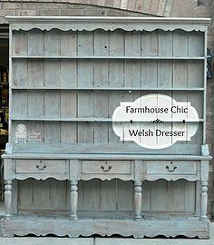 farmhouse chic welsh dresser makeover, painted furniture, woodworking projects