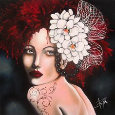 Maria by Isabelle Sauvineau. Love the black pearls in contrast to her skin and the orchids.