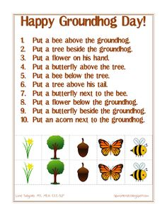 Spatial Concepts: Following Directions (Groundhog Day Theme) - Pinned by @PediaStaff – Please Visit ht.ly/63sNtfor all our pediatric therapy pins