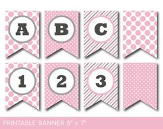 Full Alphabet Banner In Pink And Grey Printable Grey And Pink
