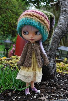 Blythe Doll Knitted Alpaca Cardigan Heathered Brown