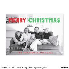 Custom Red And Green Merry Christmas Photo Cards