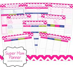 Free 30 Page Printable Super Mom Planner! Everything you need for your life as a mom! This planner includes everything from cleaning charts with checklists to family medical information!