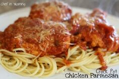 This meal was almost to easy to throw together!  I LOVE Chicken Parmesan…but in the crock pot, I LOVE it even MORE!  I found this recipe over at Siggy Spice and My family kept raving about how much they liked this meal and I am sure yours will, too!  It has such a great flavor!  (Try gluten free crumbs)