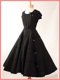 1950s Larry Aldrich Black Silk Crepe New Look Dress