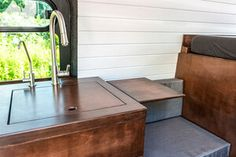 Out of Order Design — OOOD Van Van Conversion Kitchen, Van Conversion Interior, Camper Van Conversion Diy, Outside Living, Outdoor Living, Hiace Camper, White Washed Pine, Kombi Motorhome, Campervan Interior