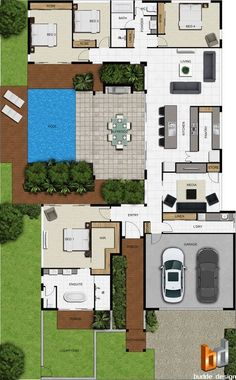 Floor Plan Friday: Separate bedrooms + Alfresco & Pool