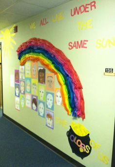 """Age 5. Have children make a self portrait using whatever color markers. Paste portraits on different color construction paper. Display portraits in hallways under a rainbow. """"We all live under the same sun"""". FA.1.55 Show individuality in artwork.  SS.1.23 Notice likeness and differences in  others"""