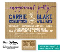Engagement Party Invitation Couples Shower Bridal by NineEighteen