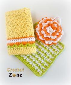 Free Crochet Pattern Citrus Splash for Dishtowel Set by CrochetZone.com Made in Cotton, dishtowel Sm cloth & scrubbie