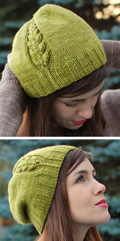 Side Detail Hat Knitting Patterns : Knitting Pattern for One Skein Perennial Hat – Slouchy beanie with a cable sprouting plant motif growing up one side. Designed by Alana Dakos. Uses one skein yards) of worsted weight yarn. Crochet Gratis, Knit Or Crochet, Free Crochet, Knitting Patterns Free, Knit Patterns, Free Knitting, Textiles, Crochet Designs, Knitting Projects