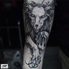 Tattoo artist Sasha Katuna authors blackwork tattoo | Russia