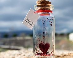You have my heart. Tiny message in a bottle. Miniatures. Personalised Gift. Funny Love Card. Valentine Card. Special greeting card.