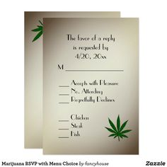 Marijuana RSVP with Menu Choice Card #weeding
