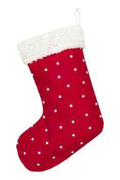 Chaussette de Noël: Chaussette de Noël en toile de coton à motif imprimé avec bord en peluche. Patte de suspension en haut. Non doublée. Circonférence en haut 46 cm environ, hauteur 45 cm environ.