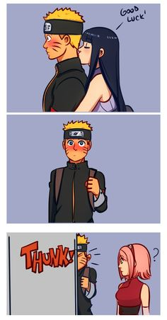 annalovesfiction: The first time Hinata kissed his neck, right before he went on a mission, Naruto almost walked into Kakashi's office wall. I'm not saying this is canon but Naruto Shippuden Sasuke, Naruto Kakashi, Naruto Comic, Wallpaper Naruto Shippuden, Naruto Cute, Hinata Hyuga, Naruhina, Shikatema, Naruto Family