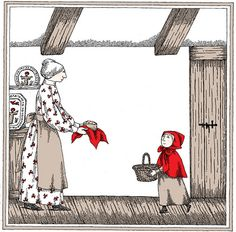 1992 Edward Gorey (American author/illustrator, ~ 'Edward Gorey Illustrates Little Red Riding Hood and Other Classic Children's Stories' Edward Gorey, Shaun Tan, Wolf, David Hockney, Traditional Fairy Tales, Brothers Grimm Fairy Tales, Charles Perrault, Red Ridding Hood, Santoro London
