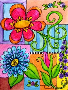 Doodle Flower Blocks by Debi Payne #artjournal #doodle #doodleart #motivation…