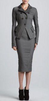 Donna Karan NY Gray Highwaisted Pencil Skirt
