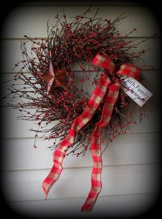 """RED and TAN Pip Berry Wreath-Red and Tan Bow-Tag and Star-GORGEOUS -22"""""""