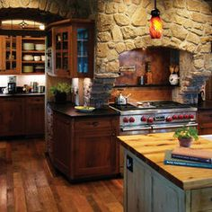 I love wood and stone in the kitchen.