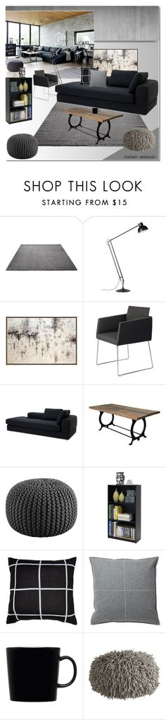 """""""Industrial Living Room"""" by rainie-minnie ❤ liked on Polyvore featuring interior, interiors, interior design, home, home decor, interior decorating, ESPRIT, Anglepoise, Moe's Home Collection and Eichholtz"""
