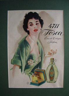 1950s,vintage,retro,perfume,ad,