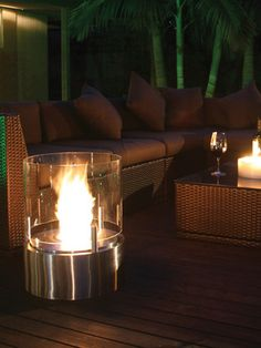 Cyl portable outdoor ventless fireplace by Marc Phillipp Veendaal for EcoSmart Fire.