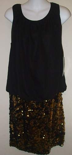 SEXY! Adrianna Papell Black and Gold Chiffon Sequin Dress! $62.99