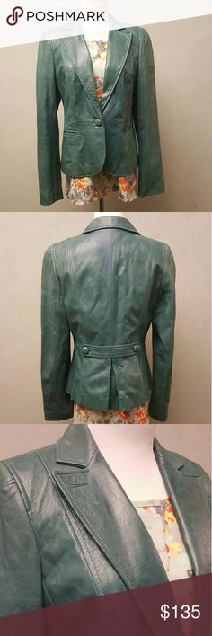 Ann Taylor Loft leather jacket Teal ann taylor loft 100% leather. In great condition. Comes with a spear button. LOFT Jackets & Coats