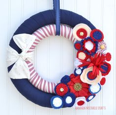 Patriotic Wreath Double Fabric Wreath 4th by AmandaMichaeleCrafts