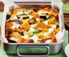 Roasted pumpkin spinach and feta slice is part of pizza - Method Toss pumpkin, zucchini and onion in prepared baking dish with oil, season to taste and spread out Bake for 1520 minutes, or until vegetables are golden and tender Vegetable Dishes, Vegetable Recipes, Vegetarian Recipes, Healthy Recipes, Vegetable Bake, Vegetable Slice, Vegetarian Cooking, Roast Vegetable Frittata, Vegetarian Xmas