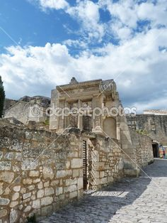 Ancient ruins in the village of Baux, Provence, France