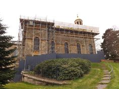 Witley Church: Scaffolding in place for re-roofing. [19-03-2016]