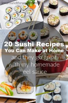 These 20 sushi recipes are perfect for making at home. And the best part?They all go perfect with my homemade eel sauce (recipe included) Eel Sauce Recipe, Thai Panang Curry, Homemade Sushi Rolls, Sushi Roll Recipes, Eel Recipes, Cooked Sushi Recipes, Asian Recipes, Sushi Ingredients, Shrimp Sushi