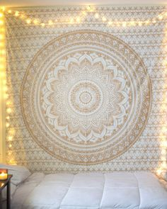 Indian Mandala Twin Gold bed cover  Bedspread  sheet  Wall Hanging  Wall Decor #DoesNotApply #ArtDecoStyle
