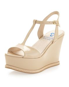 Stephanie Patent Wedge Sandal, Sand by Dee Keller at Last Call by Neiman Marcus.