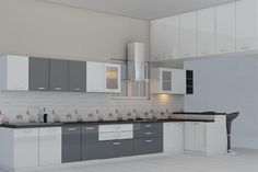 Get a custom made Modular Kitchen at an Affordable price, directly from the Manufacturer, Bangalore. Small Kitchen Cabinet Design, Kitchen Cupboard Designs, Grey Kitchen Designs, Kitchen Room Design, Modern Kitchen Cabinets, Kitchen Sets, Modern Kitchen Design, Interior Design Kitchen, Kitchen Furniture