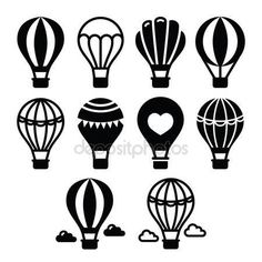 TRAVEL icon idea Vektor: Hot air balloon and clouds icons set Balloon Logo, Air Balloon Tattoo, Air Ballon, Hot Air Balloon, Tarjetas Diy, Cloud Icon, Line Art, Stock Foto, Balloons