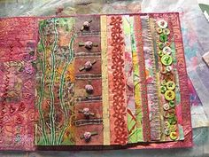 fibrejournal: My Summer Obsession Collages, Collage Art, Journal Covers, Art Journal Pages, Book Covers, Junk Journal, Fabric Art, Fabric Books, Fabric Journals