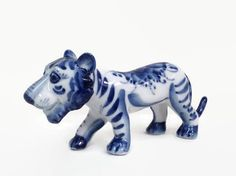 Vintage Blue White Tiger Figurine  Porcelain by TinySacredThings