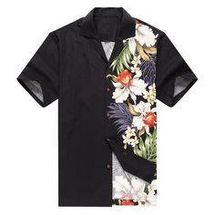 Made in Hawaii Men's Hawaiian Shirt Aloha Shirt Side Floral Orchid