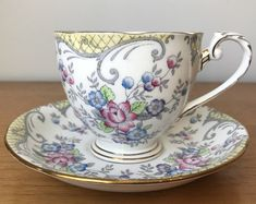 Royal Grafton Yellow and Grey Vintage Teacup and Saucer, Pink and Blue Flower Tea Cup and Saucer, English Floral Bone China