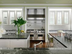 White Contemporary Kitchen in Beautiful, Efficient Kitchen Design and Layout Ideas from HGTV