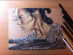 Drawing Rey/Daisy Ridley - Star Wars - YouTube