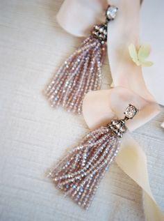 Diamond tassel beaded earrings: http://www.stylemepretty.com/2016/12/29/5-beauty-looks-to-steal-for-your-big-day/ Photography: Alexandra Elise - http://www.alexandraelisephotography.com/