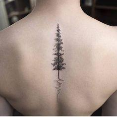 Sleek Small Pine Tree Tattoo for Upper Back #tattoosforwomenunique